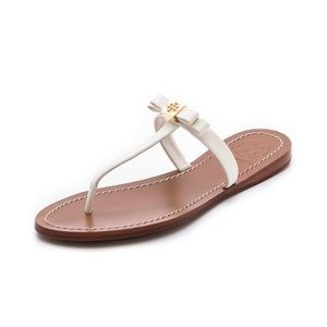 Tory Burch Leighanne White Bow Flip Flop Sandals 9
